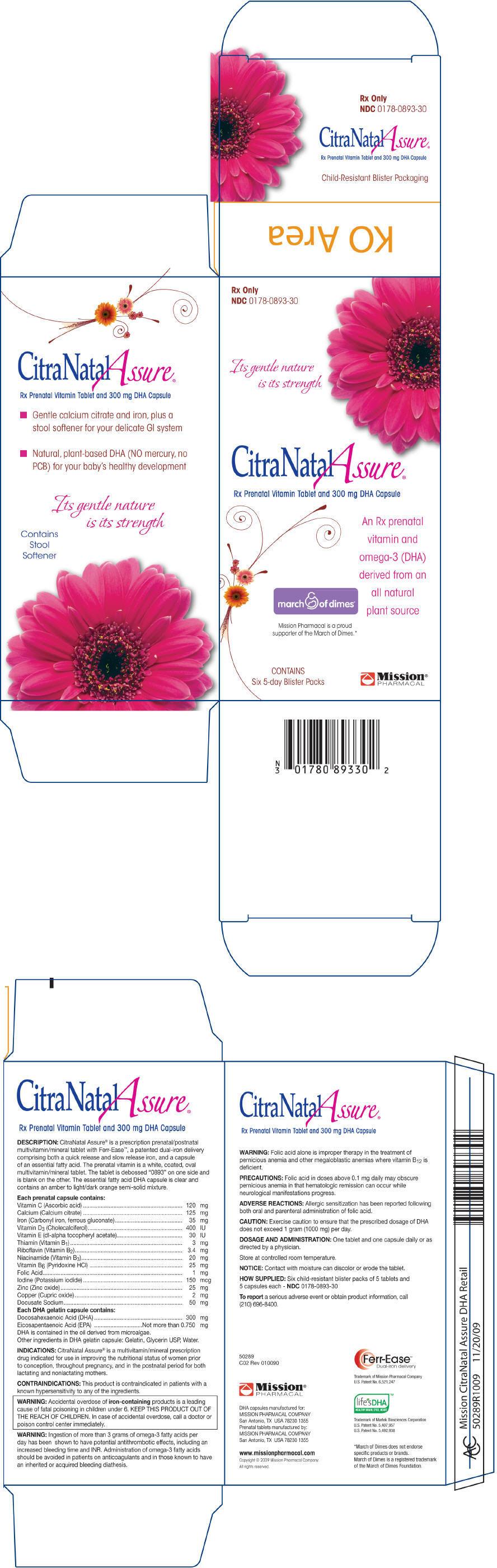 Citranatal Assure (Ascorbic Acid, Calcium Citrate, Iron, Vitamin D, .alpha.-tocopherol Acetate, Dl-, Thiamine, Riboflavin, Niacinamide, Pyridoxine Hydrochloride, Folic Acid, Iodine, Zinc, Copper, Docusate Sodium, Doconexent And Icosapent) Kit [Mission Pharmacal Company]