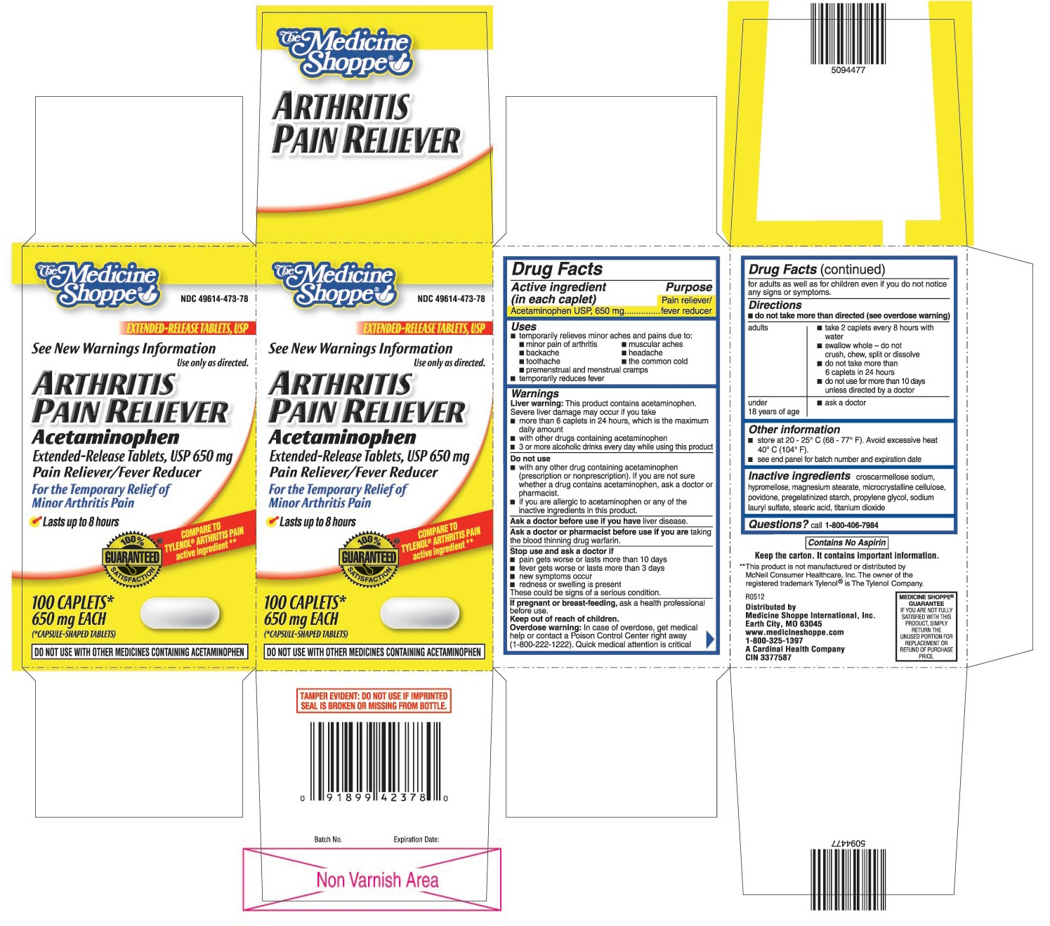 This is the 100 count bottle carton label for Medshoppe arthritis pain reliever Acetaminophen extended-release tablets, USP 650 mg.