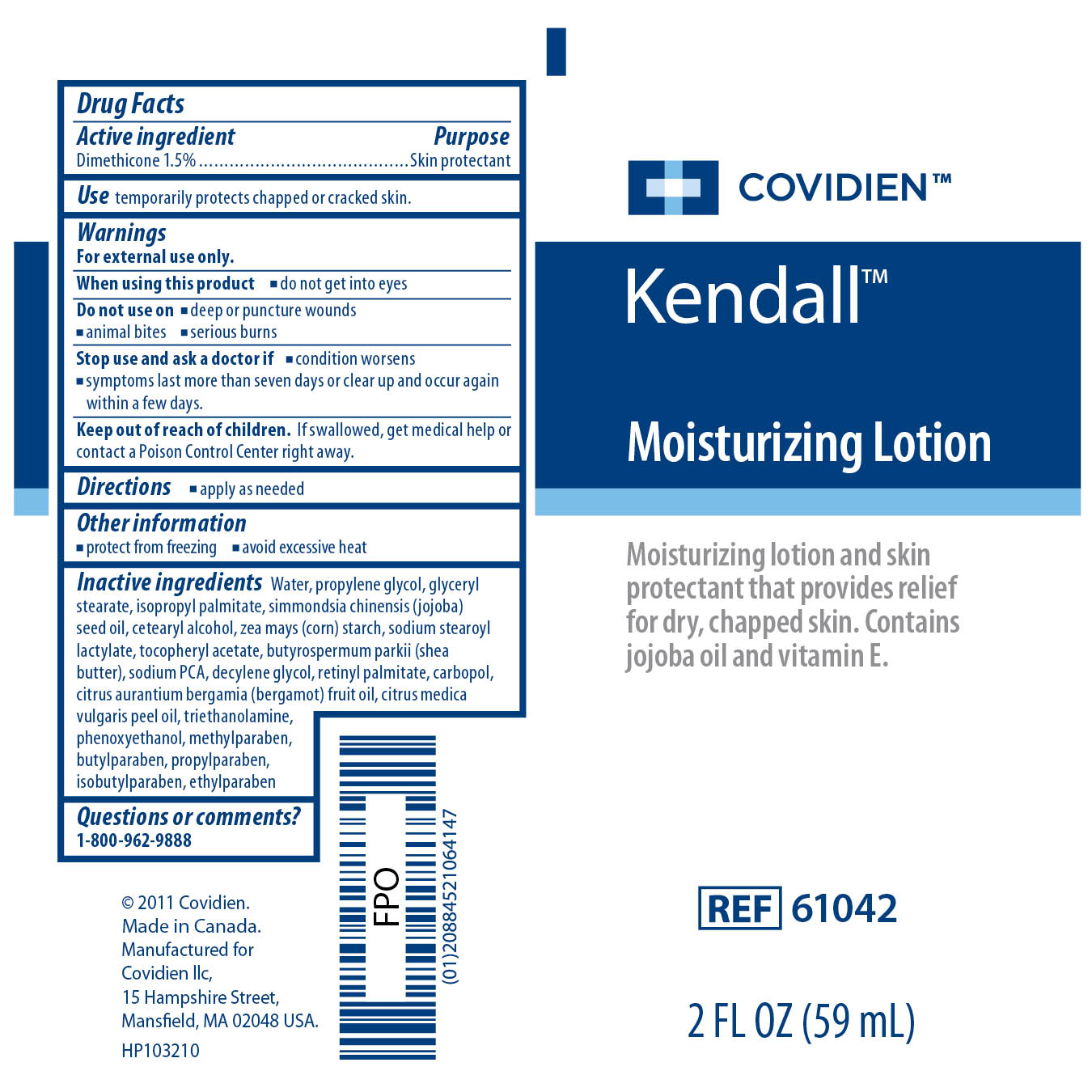 Image of Kendall Moisturizing Lotion 2 Fl oz Label