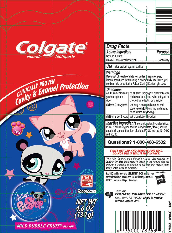 Colgate Jr Littlest Pet Shop (Sodium Fluoride) Paste, Dentifrice [Mission Hills, S.a. De C.v.]