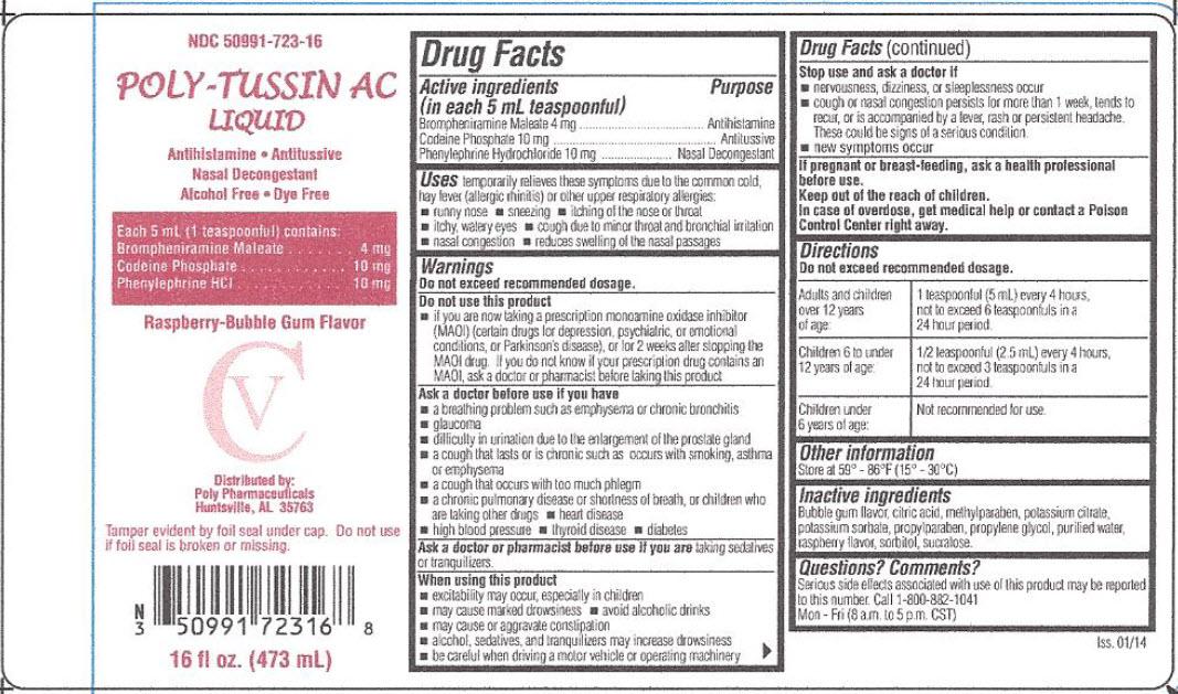 Poly-tussin Ac (Brompheniramine Maleate, Codeine Phosphate, Phenylephrine Hydrochloride) Liquid [Poly Pharmaceuticals, Inc.]