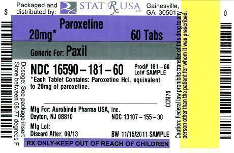 PAROXETINE 20MG Label Image