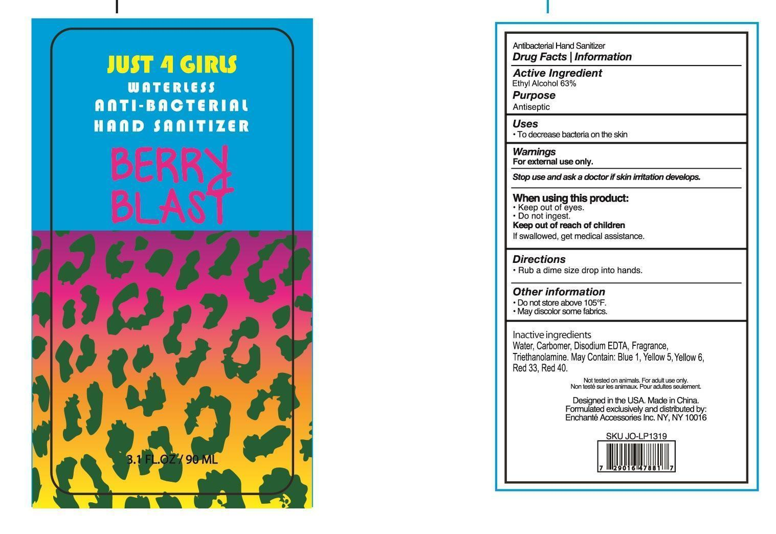 Just 4 Girl Waterless Anti Bacterial Hand Sanitizer Berry Blast (Alcohol) Liquid [Enchante Accessories Inc. ]