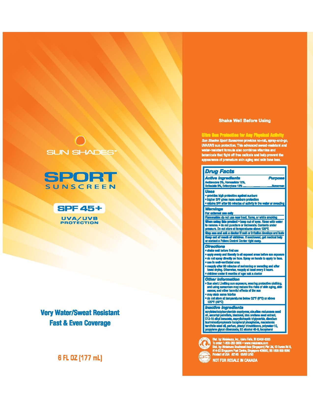 Sun Shades Sport Plus (Avobenzone, Homosalate, Octisalate, Octocrylene) Spray [Melaleuca, Inc.]