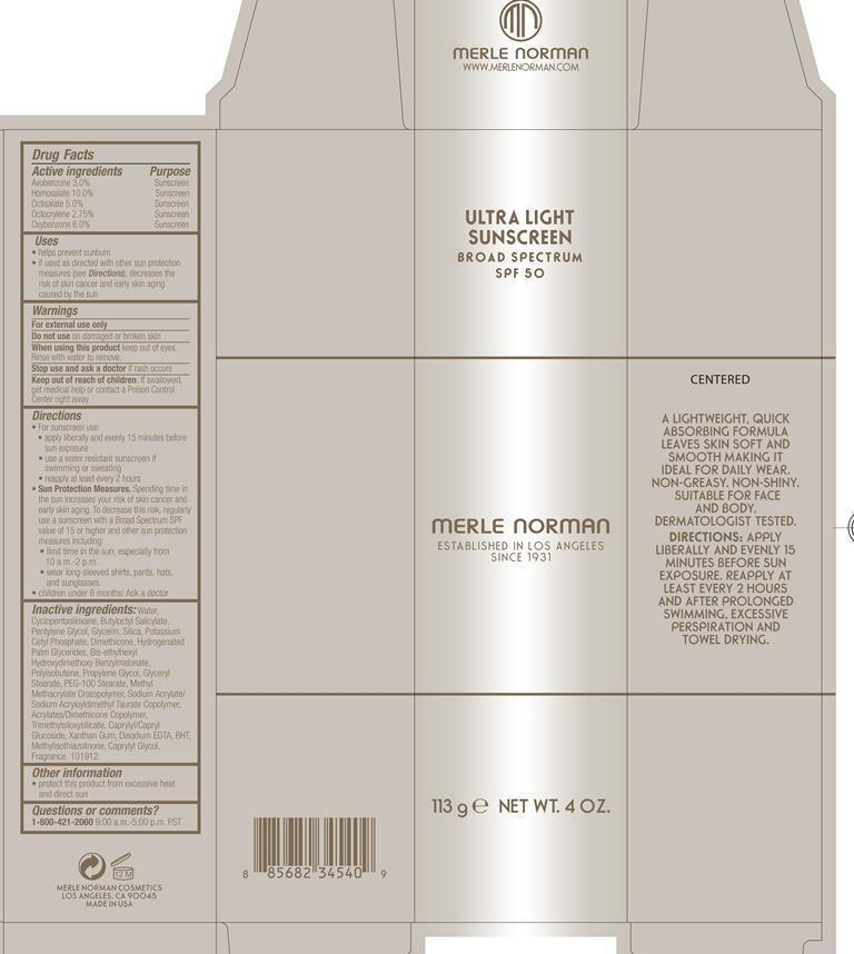 Ultra Light Sunscreen Broad Spectrum Spf 50 Merle Norman (Avobenzone, Homosalate, Octisalate, Octocrylene, Oxybenzone) Lotion [Merle Norman Cosmetics]
