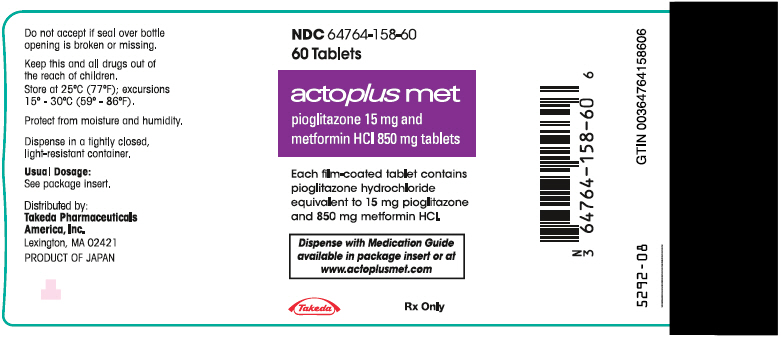 PRINCIPAL DISPLAY PANEL - 15 mg/850 mg Tablet Bottle Label