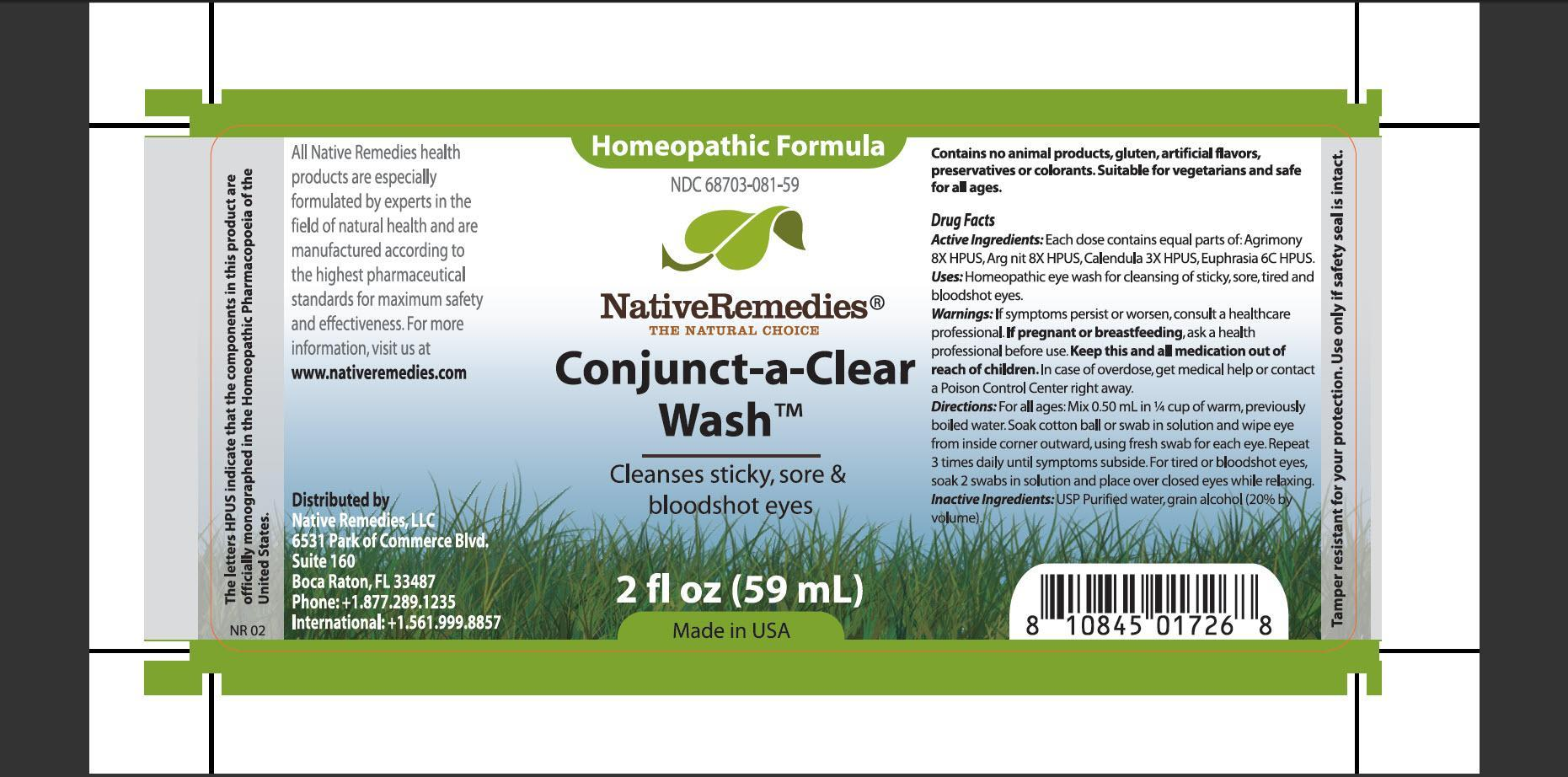 Conjunct-a-clear Wash (Agrimony, Arg Nit, Calendula, Euphrasia) Tincture [Native Remedies, Llc]