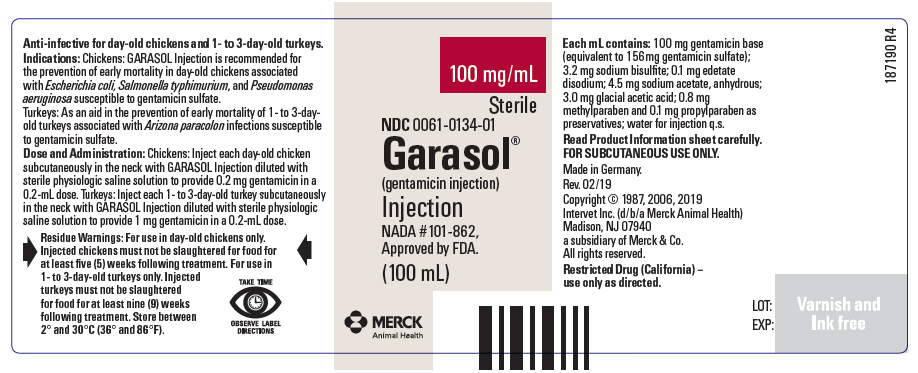 Garasol (Gentamicin Sulfate) Injection, Solution [Merck Sharp & Dohme Corp.]