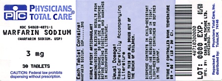 Warfarin Sodium 3 mg tablets