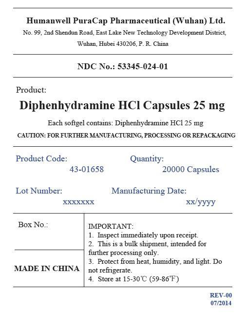 Diphenhydramine Hydrochloride Capsule, Liquid Filled [Humanwell Puracap Pharmaceutical (Wuhan), Ltd.]