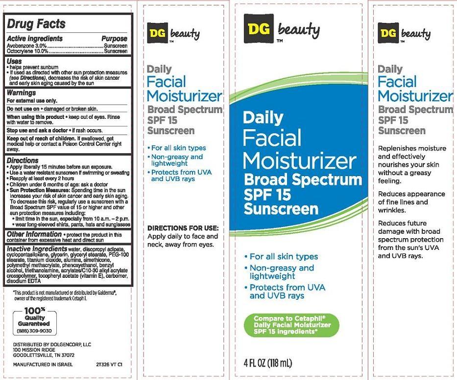 Daily Facial Moisturizer Broad Spectrum Spf15 Sunscreen (Avobenzone, Octocrylene) Cream [Dolgencorp Inc.]