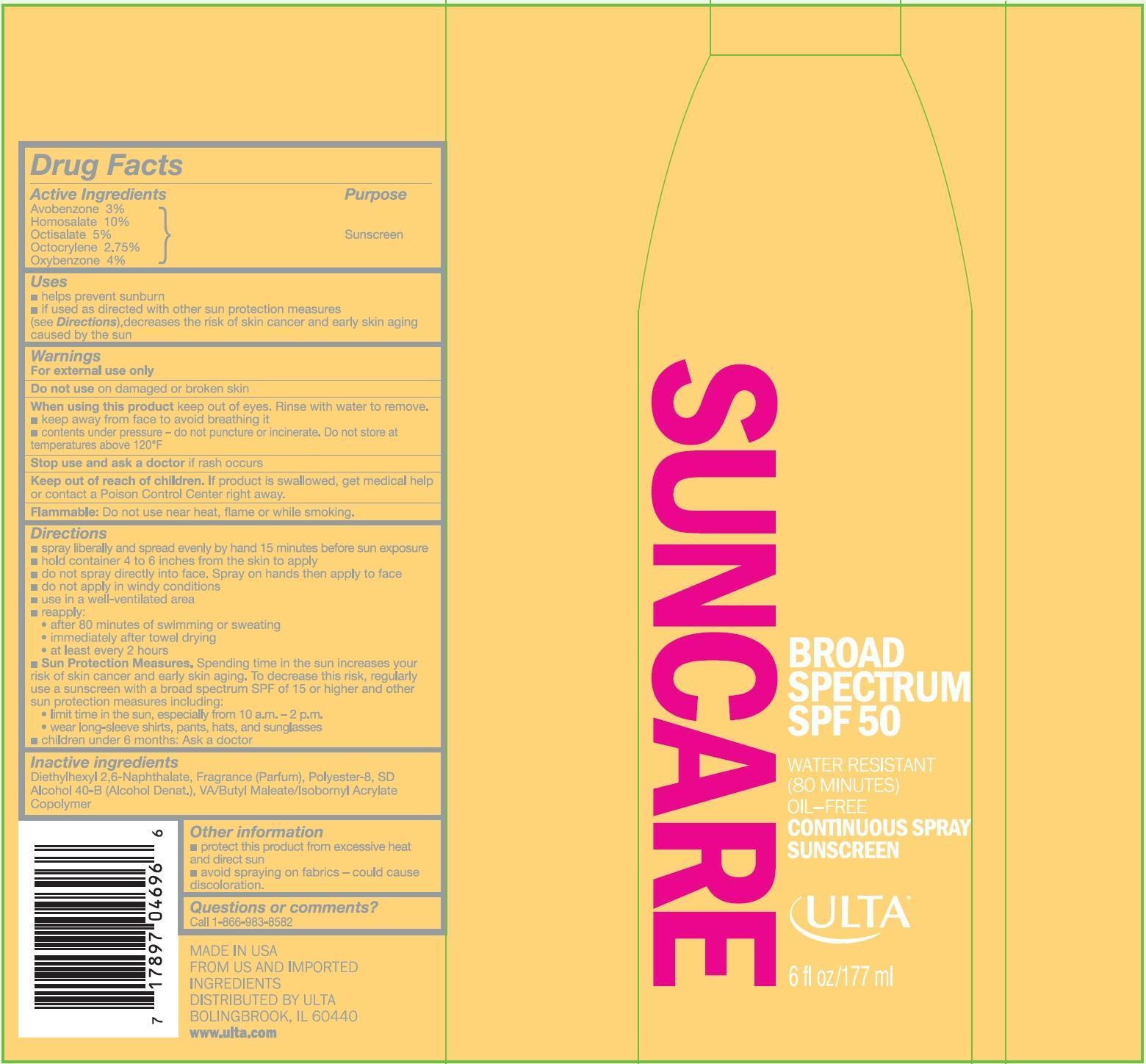 Ulta Broad Spectrum Spf 50 (Avobenzone, Homosalate, Octisalate, Octocrylene And Oxybenzone) Spray [Prime Packaging, Inc.]