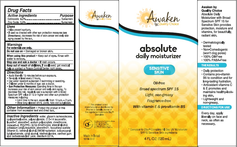 Awaken By Quality Choice Absolute Daily Moisturizer Broad Spectrum Spf 15 Sunscreen (Octinoxate And Zinc Oxide) Cream [Chain Drug Marketing Association]