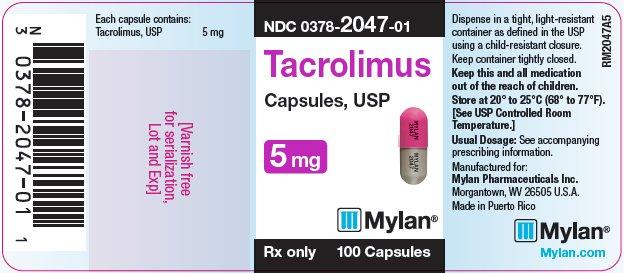 Tacrolimus Capsules, USP 1 mg Bottle Label