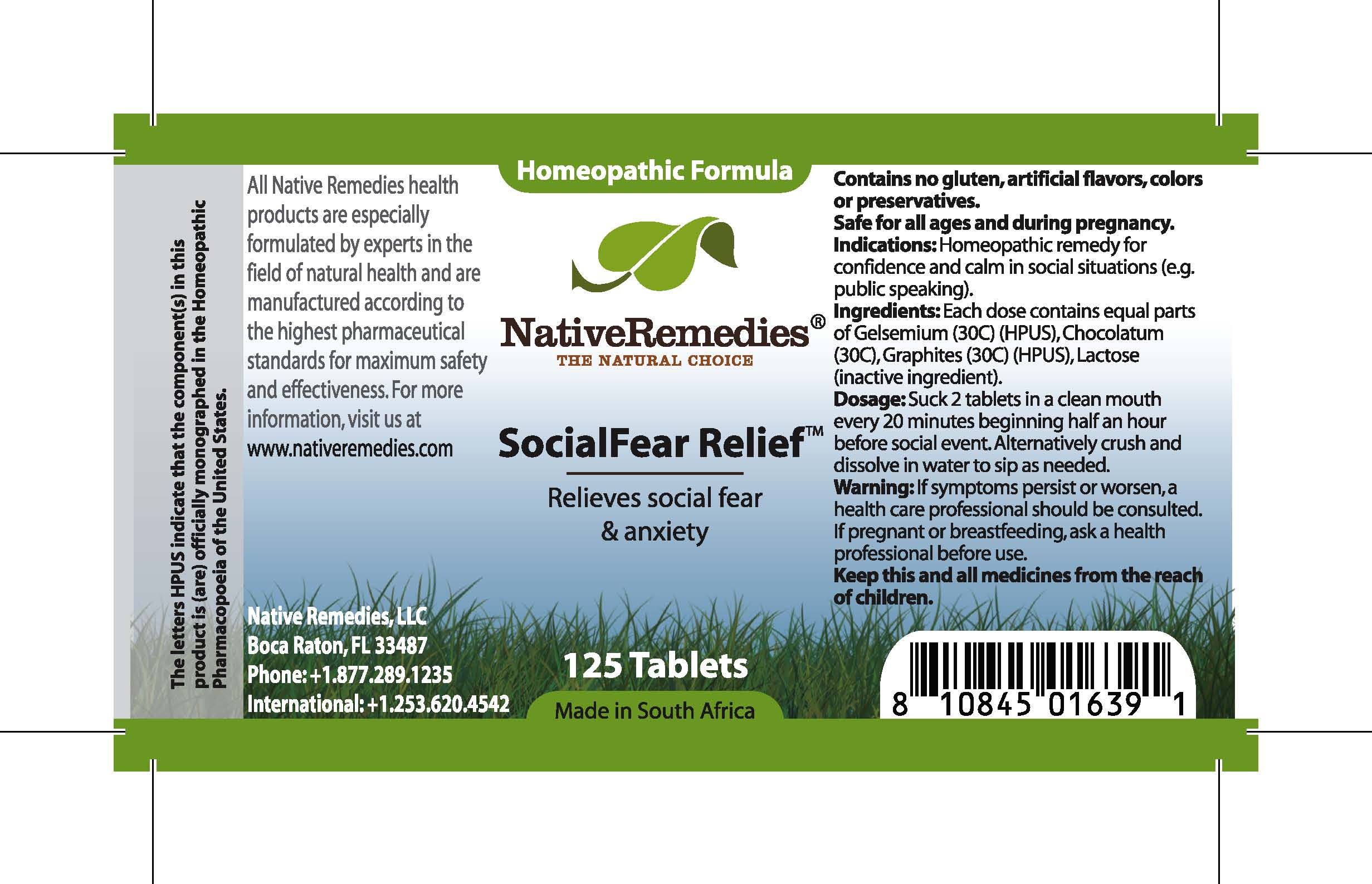 Socialfear Relief (Gelsemium, Chocolatum, Graphites) Tablet [Feelgood Health]