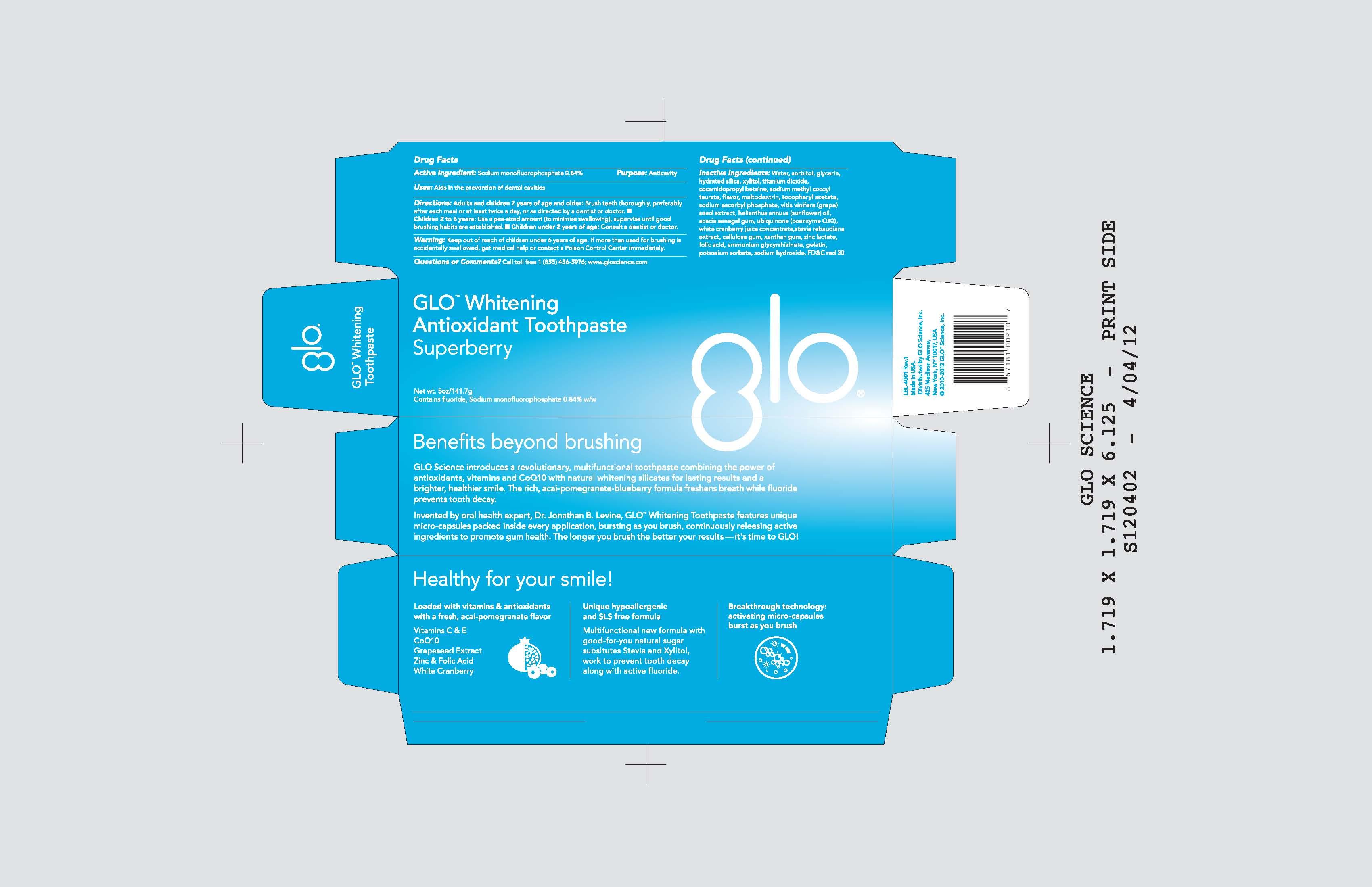 Glo Scinece Antioxidant (Fluoride) Paste, Dentifrice [Glo Science Inc]