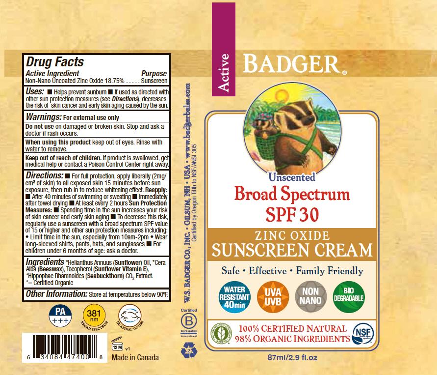 Badger Unscented Spf 30 Sunscreen (Zinc Oxide) Cream [Norwood Packaging Ltd.]