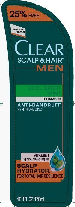 Clear Men Cool Sport Mint Antidandruff (Pyrithione Zinc) Shampoo [Conopco Inc. D/b/a Unilever]