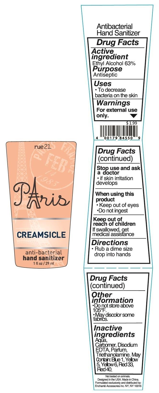 Rue 21 Paris Creamsicle Anti Bacterial Hand Sanitizer (Alcohol) Liquid [Enchante Accessories Inc. ]