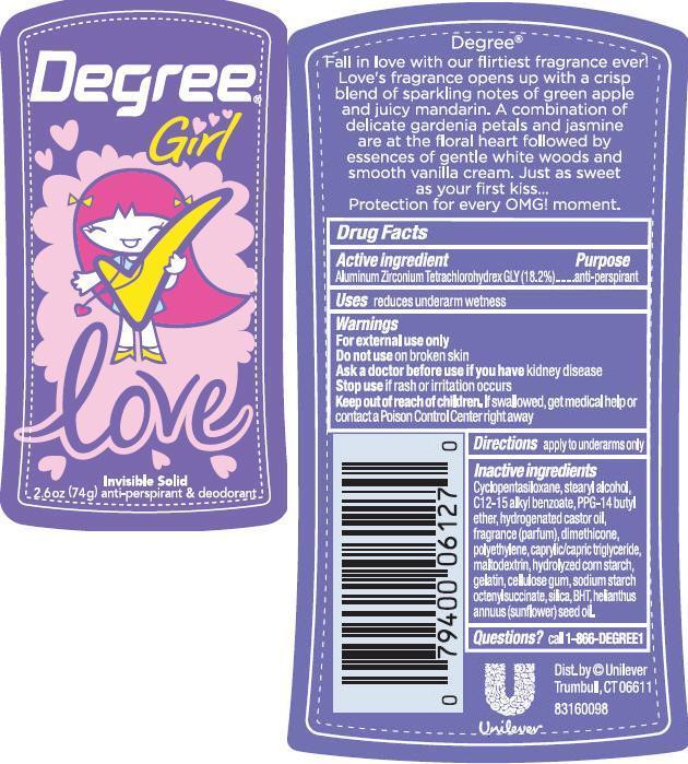 Degree Love Antiperspirant And Deodorant (Aluminum Zirconium Tetrachlorohydrex Gly) Stick [Conopco Inc. D/b/a Unilever]
