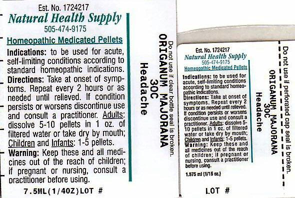 Headache (Origanum Majorana) Pellet [Natural Health Supply]