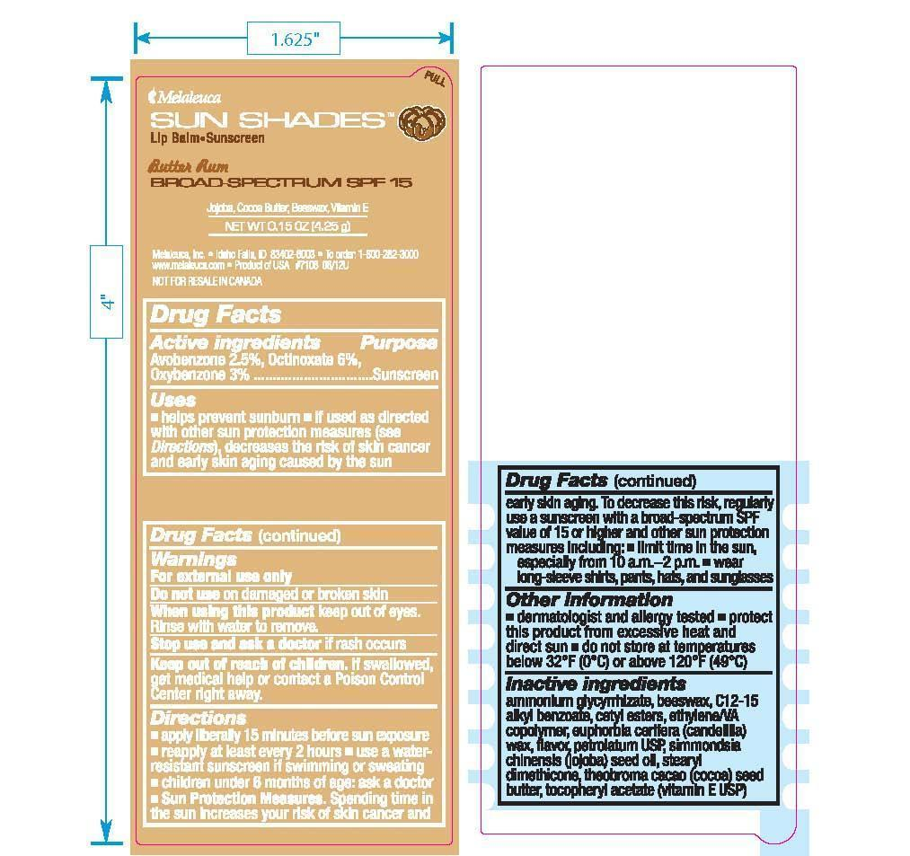 Sun Shades Lip Balm Butter Rum (Avobenzone 2.5%, Octinoxate 6%, Oxybenzone 3%) Stick [Melaleuca Inc.]