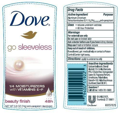 Dove Go Sleeveless Beauty Finish Antiperspirant And Deodorant (Aluminum Zirconium Tetrachlorohydrex Gly) Stick [Conopco Inc. D/b/a Unilever]