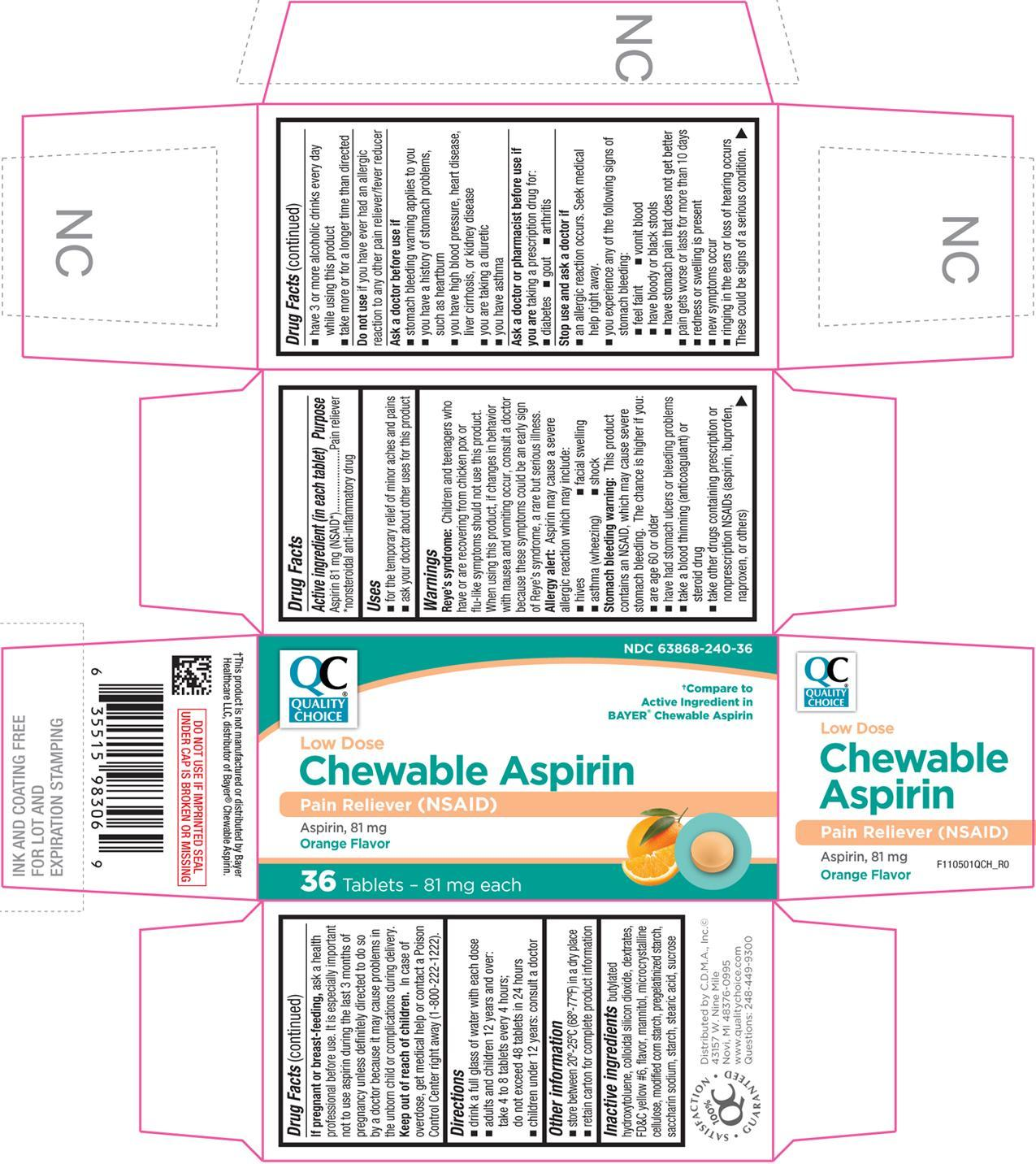 Chewable Aspirin (Aspirin) Tablet, Chewable [Chain Drug Marketing Association]