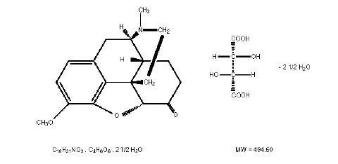 Hydrocodone Bitartrate Structural Formula