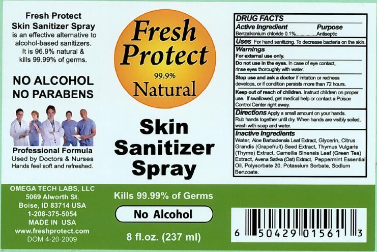 Fresh Protect Skin Sanitizer (Benzalkonium Chloride) Spray [Omega Tech Labs Inc.]