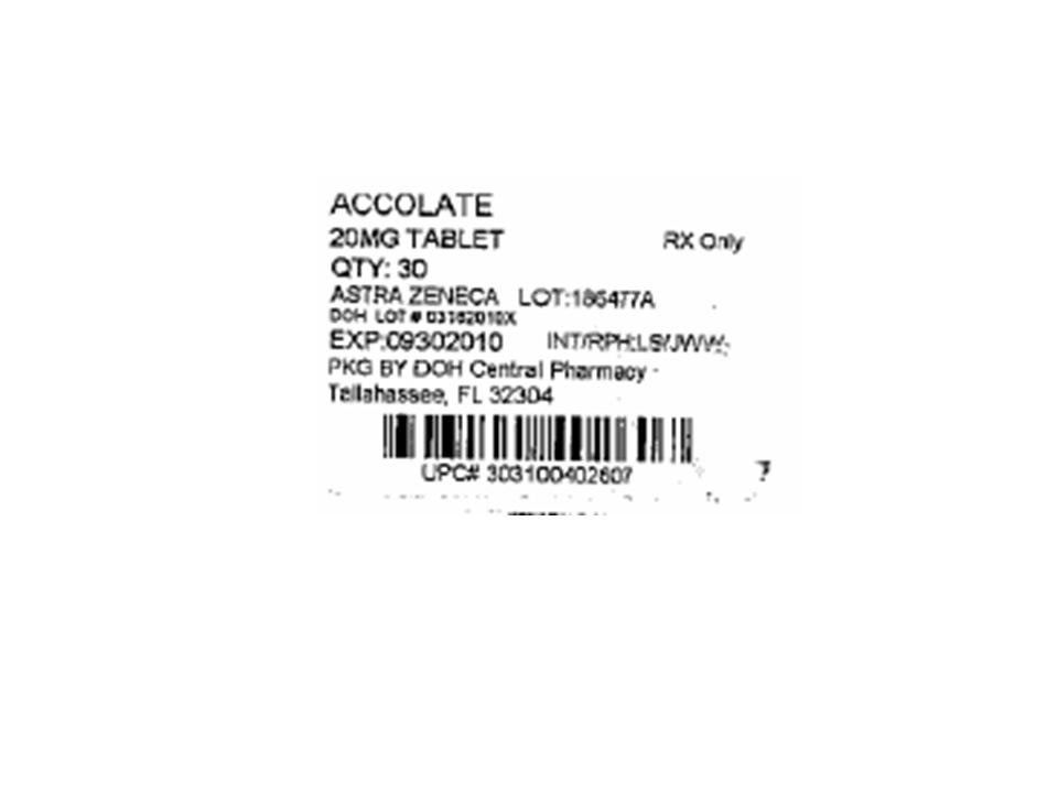 Accolate 20mg - 30 Tablet Bottle Label
