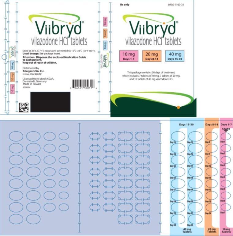 PRINCIPAL DISPLAY PANEL NDC 0456-1101-30 Viibryd vilazodone HCI tablets 10 mg Days 1-7 20 mg Days 8-30 Rx Only