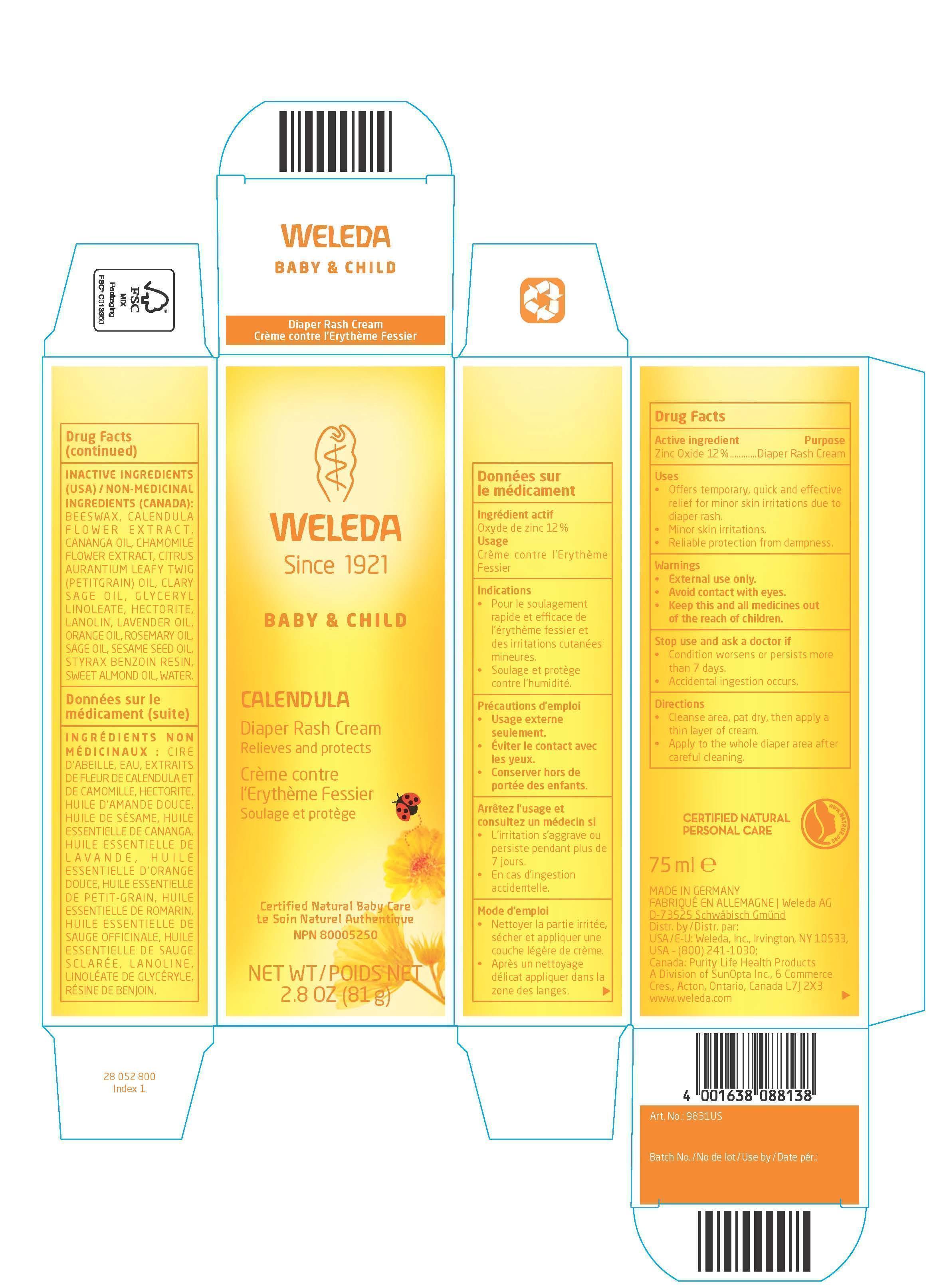 Calendula Diaper Rash Cream (Zinc Oxide) Cream [Weleda A.g. Schwäbisch Gmünd, Zweigniederlassung Der Weled]