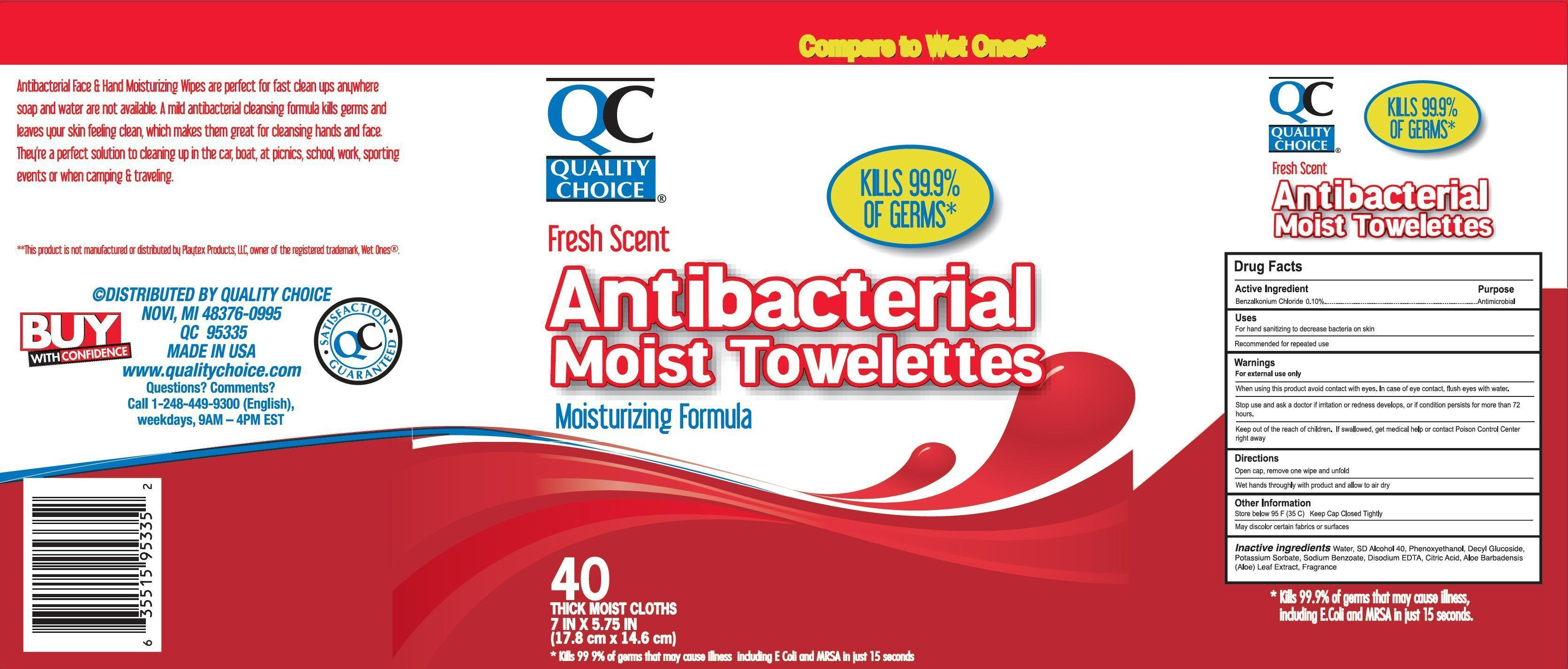 Quality Choice Antibacterial Moist Towelettes (Benzalkonium Chloride) Cloth [Chain Drug Marketing Association]
