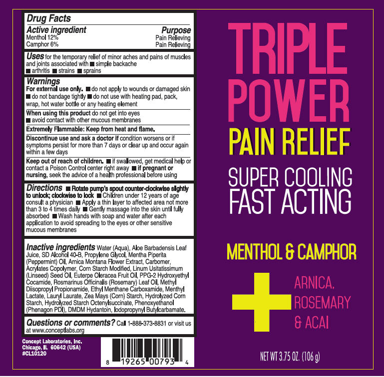 Triple Power Pain Relief (Menthol, Unspecified Form And Camphor (Synthetic)) Cream [Concept Laboratories, Inc.]