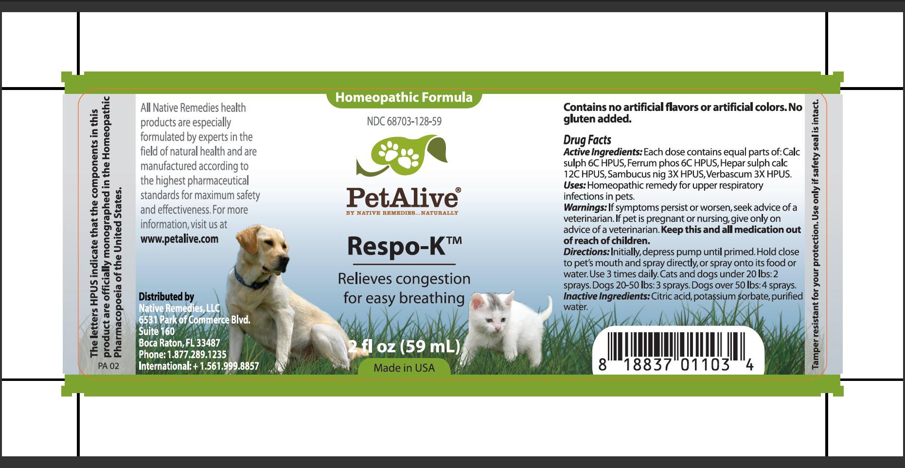 Petalive Respo-k (Calc Sulph, Ferrum Phos, Hepar Sulph Calc, Sambucus Nig, Verbascum) Spray [Native Remedies, Llc]