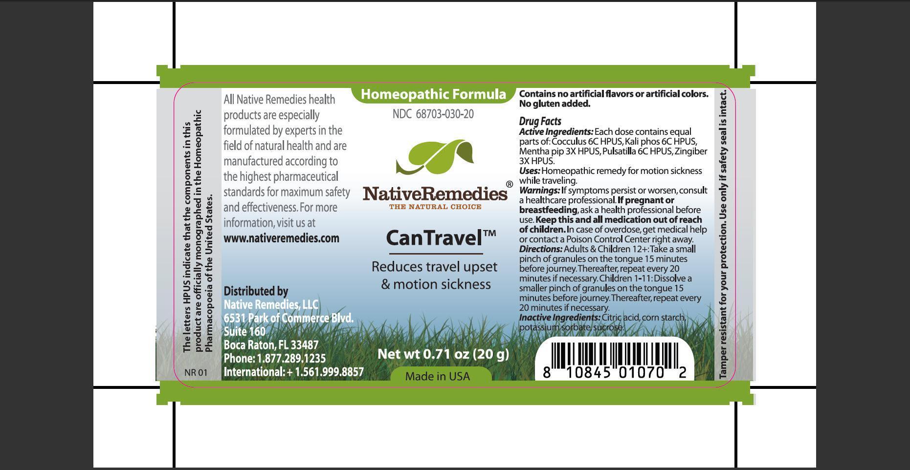 Cantravel (Cocculusm, Kali Phos, Mentha Pip, Pulsatilla, Zingiber) Granule [Native Remedies, Llc]