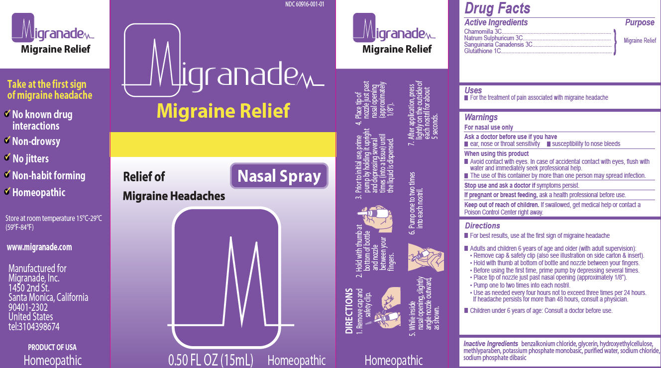 Migranade (Chamomilla, Natrum Sulphuricum, Sanguinaria Canadensis, Glutathione) Spray [Migranade Inc.]