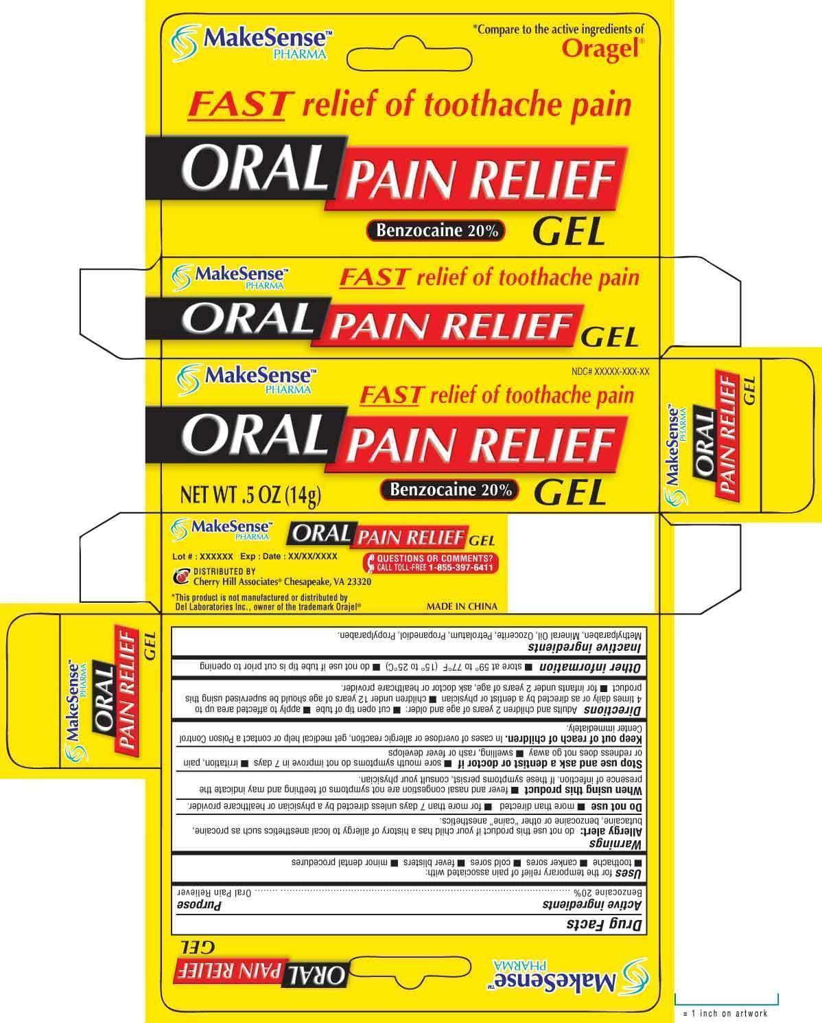 Makesense Pain Relief (Benzocaine) Gel [Cherry Hill Sales Co]