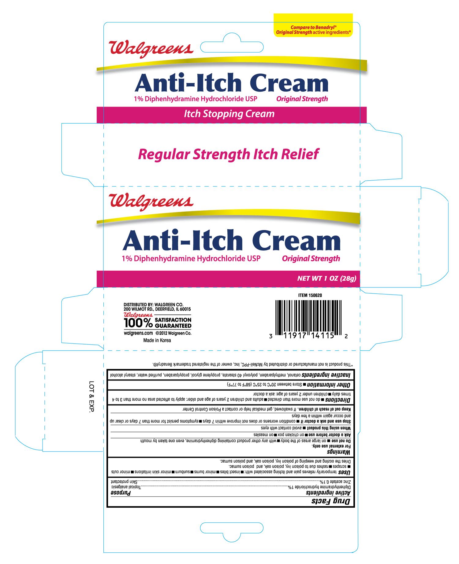 Walgreens Anti Itch (Diphenhydramine Hydrochloride, Zinc Acetate) Cream [Walgreen Company]