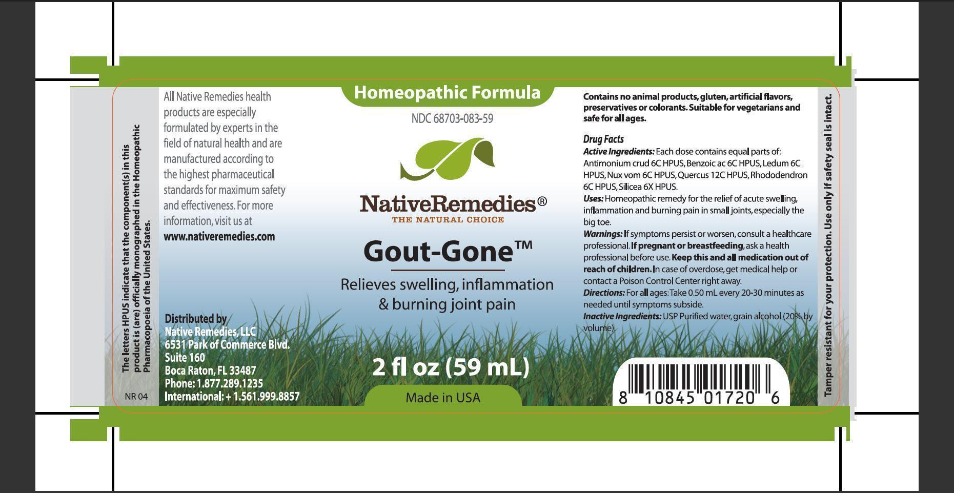 Gout Gone (Antimoium Crud, Benzoic Ac, Ledum, Nux Vom, Quercus, Rhododendron, Silicea) Tincture [Native Remedies, Llc]
