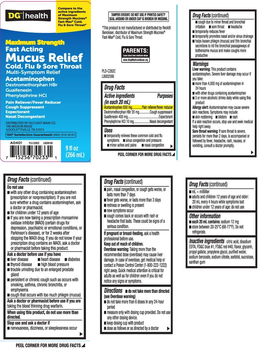 Mucus Relief Cold Flu And Sore Throat Maximum Strength (Acetaminophen, Dextromethorphan Hbr, Guaifenesin, Phenylephrine Hcl) Liquid [Dolgencorp, Inc. (Dollar General & Rexall)]