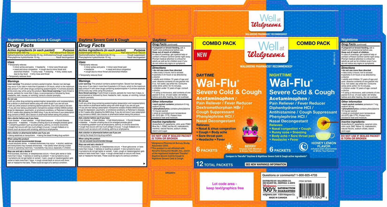 Walgreens Daytime Nighttime Wal-flu Severe Cold And Cough Kit (Acetaminophen, Diphenhydramine Hcl, Phenylephrine Hcl And Dextromethorphan Hbr) Kit [Walgreen Co.]