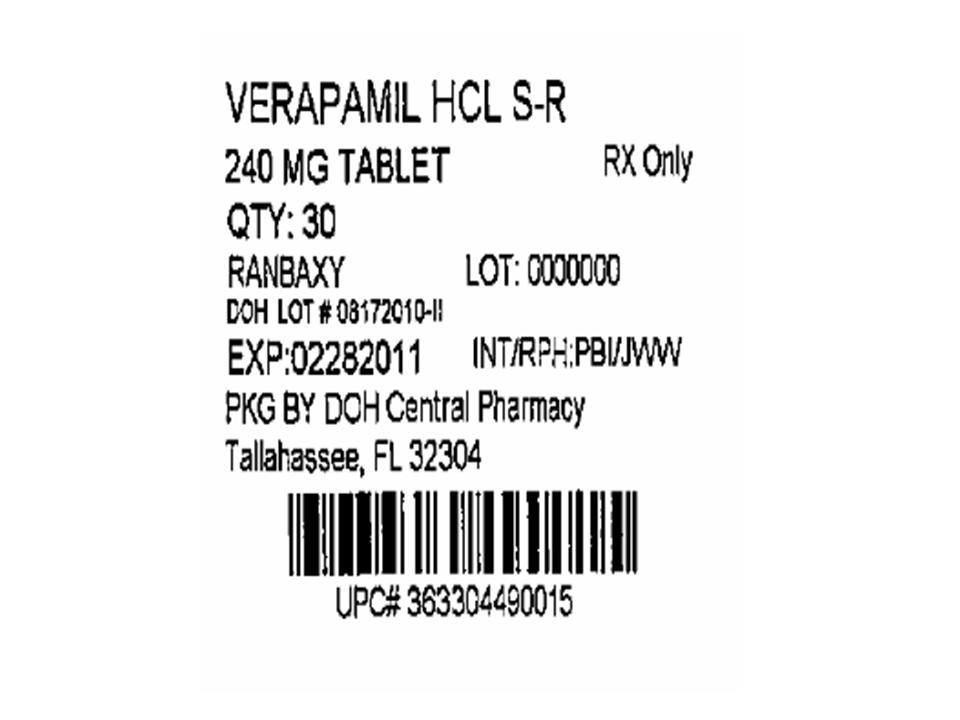 Verapamil Tablets 240mg 30s Label