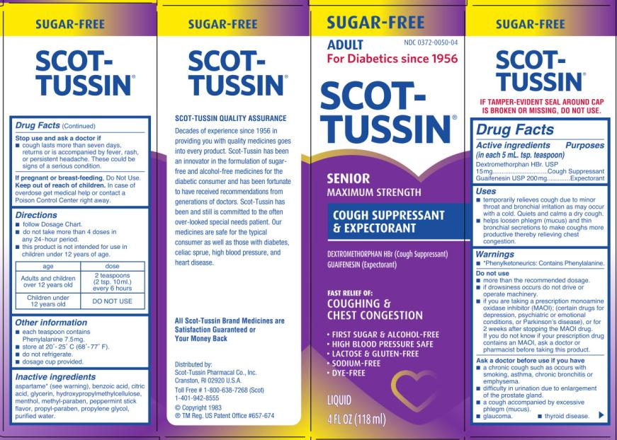 NDC 0372-0050-04 SCOT-TUSSIN SENIOR Maximum Strength COUGH SUPPRESSANT & EXPECTORANT  4 FL OZ (118 ml)