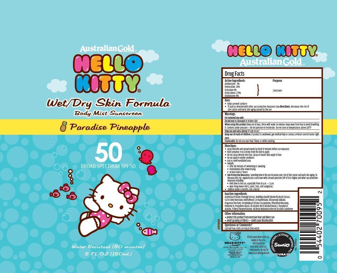 Australian Gold Hello Kitty Broad Spectrum 50 (Avobenzone, Homoslate, Octisalate ,octocrylene And Oxybenzone) Aerosol, Spray [Prime Packaging, Inc.]