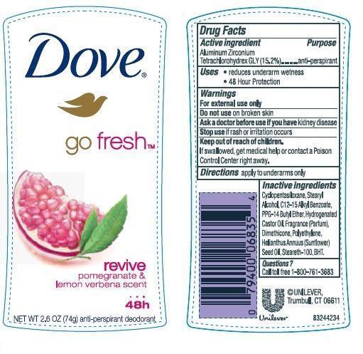 Dove Revive Antiperspirant And Deodorant (Aluminum Zirconium Tetrachlorohydrex Gly) Stick [Conopco Inc. D/b/a Unilever]