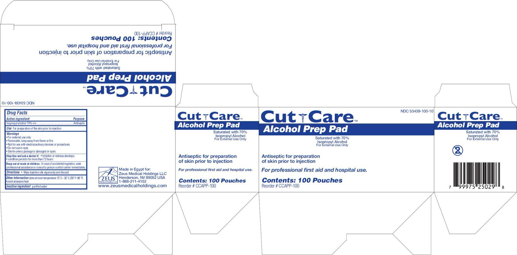 Cut Care Alcohol Prep Pad (Isopropyl Alcohol) Swab [Zeus Medical Holdings Llc]