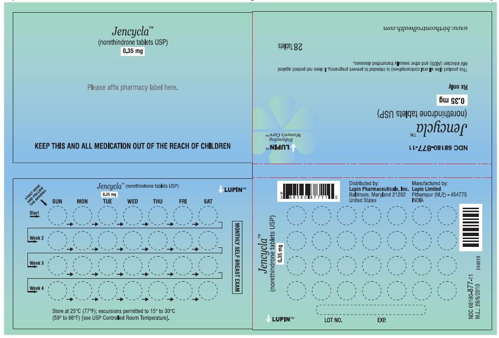 Jencycla (norethindrone tablets USP) 0.35 mg 28 Day Regimen Wallet Pack: NDC: 68180-877-11 1 Wallet of 28 Tablets