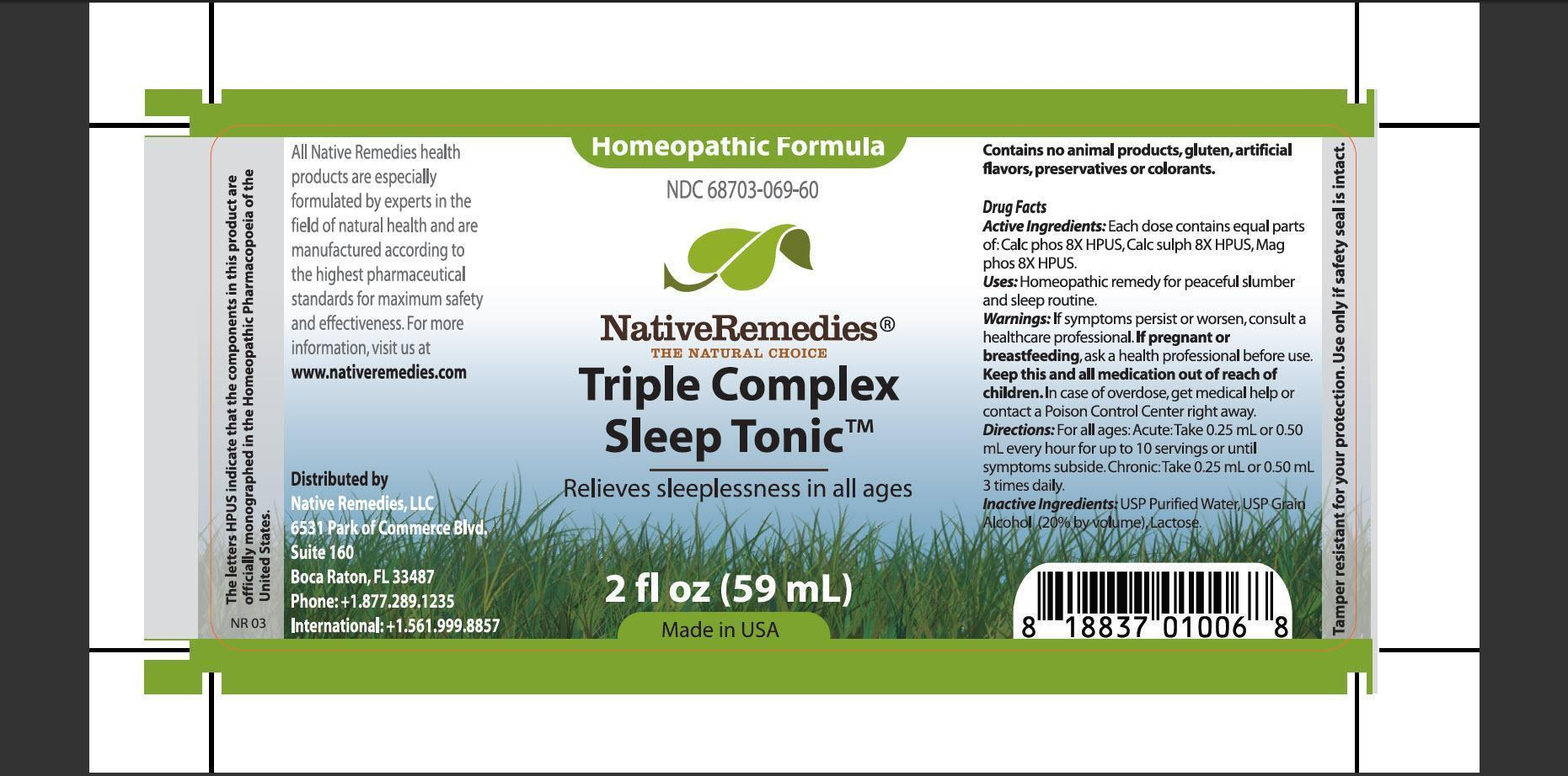 Triple Complex Sleep Tonic (Cacl Phos, Calc Sulph, Mag Phos) Tincture [Native Remedies, Llc]